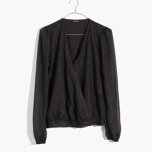 [NWT] Madewell Shimmer Wrap Top in Black